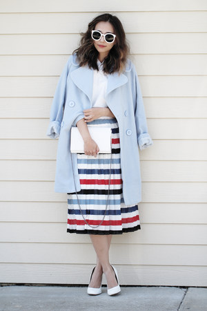 light blue OASAP coat - light blue asos skirt - white asos top