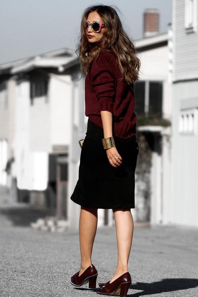 black Lulus skirt - brick red Lulus sweater - brick red Dynamite scarf