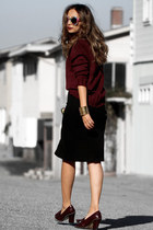 black Lulus skirt - brick red Lulus sweater - brick red Dynamite scarf