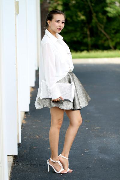 silver Haute Rogue skirt - white Haute Rogue blouse