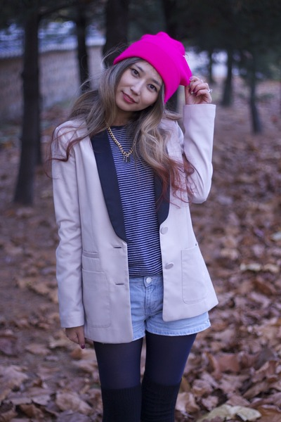 hot pink knit asos hat