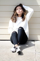white Hawkster sweater - dark gray Sheinside jeans - white OASAP sneakers
