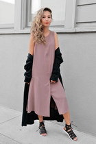 black Aqua Pillar sandals - light purple Forever 21 dress