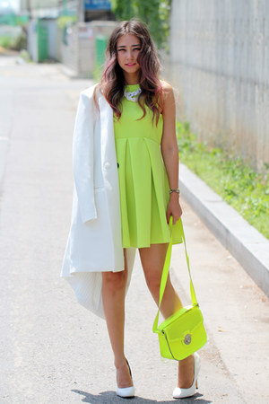 white Zappos pumps - chartreuse neon Lovelywholesale dress