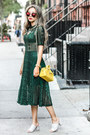 Teal-storets-dress-yellow-coach-bag