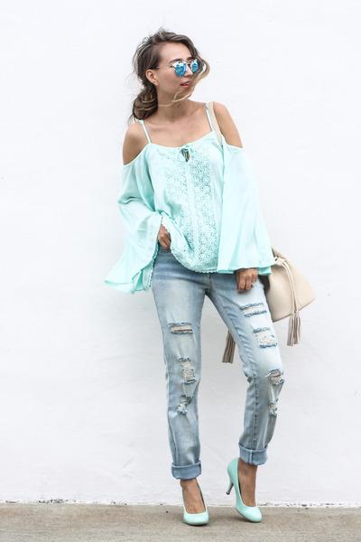 aquamarine NY & Company top - periwinkle NY & Company jeans