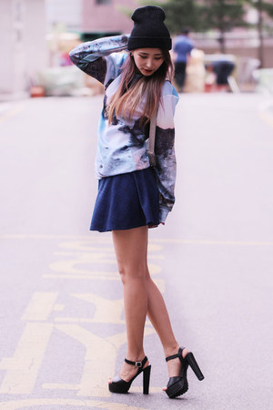 navy Forever 21 skirt - periwinkle printed Choies sweatshirt