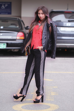 black Forever 21 jacket - red chiffon Forever 21 blouse - black asos pants