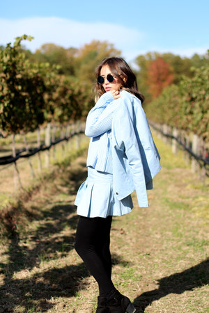 light blue blackfive jacket - light blue knit Forever 21 sweater