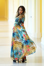 Turquoise-blue-romwe-dress