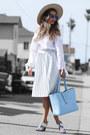 Nude-nordstrom-hat-sky-blue-poupee-de-papier-bag-white-free-people-top