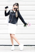 dark gray Zara sweater - white Macys skirt - white Karmaloop sneakers