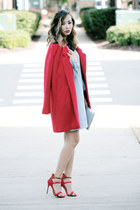 red new look coat - silver Lulus dress - red Lulus sandals