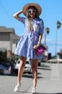 Light-blue-dezzal-dress-neutral-nordstrom-hat-hot-pink-poupee-de-papier-bag