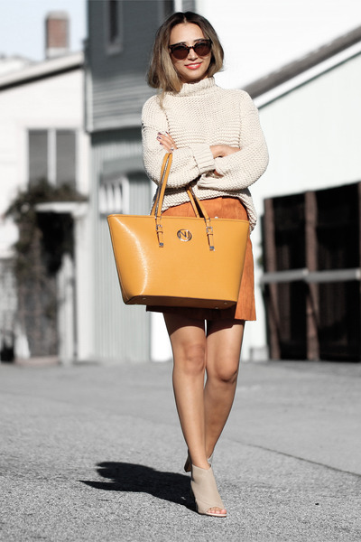 nude Sheinside sweater - nude Nina shoes - orange Nuciano bag