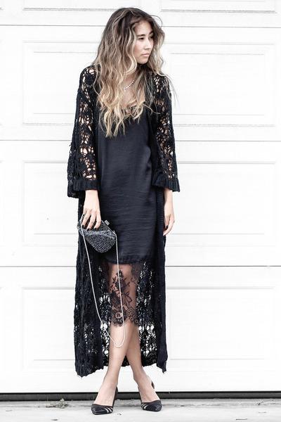 black sans souci dress - black sans souci jacket - navy NIna Shoes bag