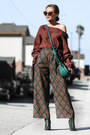 Forest-green-public-desire-boots-teal-eva-mendes-bag-brick-red-dezzal-pants