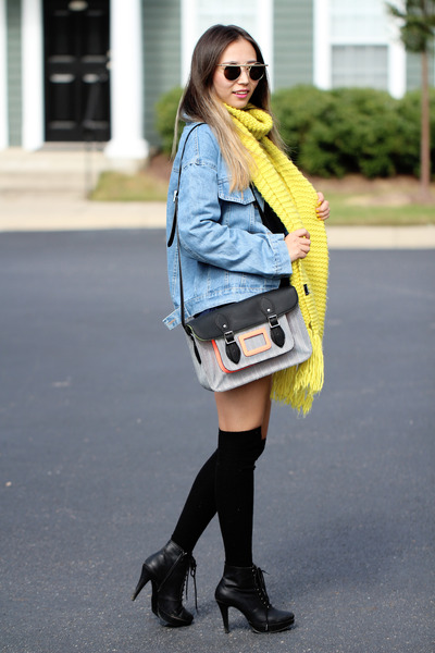 sky blue denim jacket younghungryfree jacket - yellow H&M scarf
