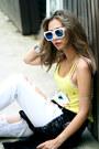 White-style-moi-jeans-black-stylenanda-jacket-yellow-style-moi-top