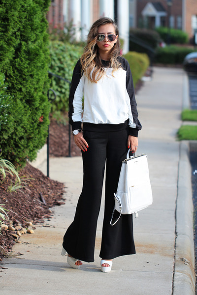black lovemartini sweater - white leather StyleMoi bag - black blackfive pants