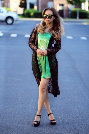 green MrGugu & Miss Go dress - black Stylenanda coat - black Shoes heels