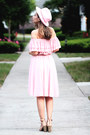 Pink-chicwish-dress-light-pink-asos-hat-peach-jcpenney-sandals