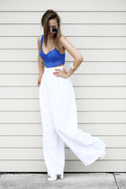 white Trendhood necklace - white Megz Fashion pants - blue VS pink bra