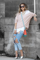 turquoise blue nicole lee bag - light pink Lulus sweater