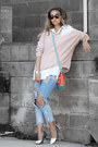 Light-pink-lulus-sweater-turquoise-blue-nicole-lee-bag