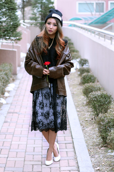 black lace Style Nanda dress - white asos skirt