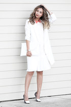 white Urban Outfitters dress - white BNKR coat - white Anastasia by Raine bag