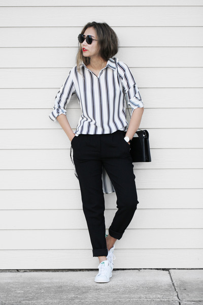 black Daniel Wellington watch - white Adidas sneakers - black Forever 21 pants