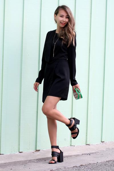 black Topshop dress - black BNKR sandals