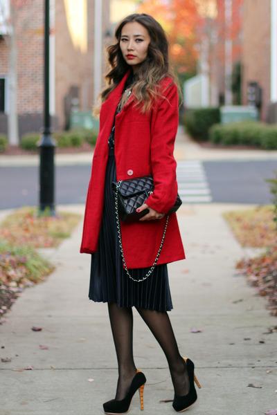 red Nordstrom coat - black Chanel bag - black style moi blouse