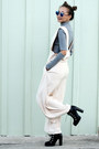 Black-lulus-boots-silver-h-m-scarf-bronze-melie-bianco-bag