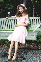 pink Chicwish dress - light pink asos hat - peach JCPenney sandals