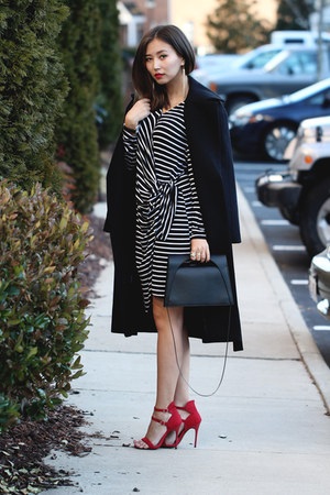 white OASAP dress - black FEW MODA coat - black Ms Littles bag bag