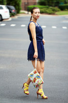 navy onfancy dress - yellow Front Row Shop bag - white Kristin Perry earrings