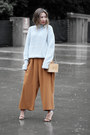 Light-blue-ifchic-sweater-brown-oasap-bag-tawny-chloe-pants
