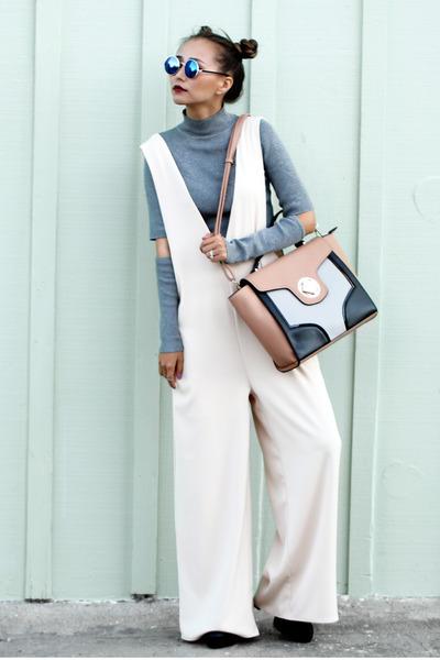 ivory Lamoda101 romper - black Lulus boots - silver H&M scarf