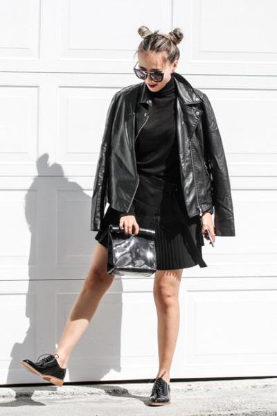 black Forever 21 jacket - black Trendhood bag - black Shoesdotcom loafers