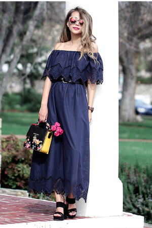 navy Eva Mendes dress - black Eva Mendes sandals