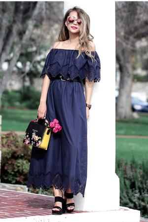 navy Eva Mendes dress - black Eva Mendes sandals