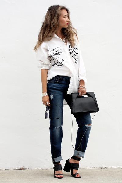 white Hervia shirt - navy 7 for all mankind jeans - black BNKR sandals