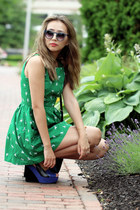 green Larmoni dress - navy Nordtsrom bag - navy Shoedazzle sandals
