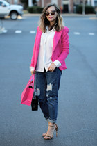 hot pink Fashion Frenzzie blazer - navy blackfive jeans