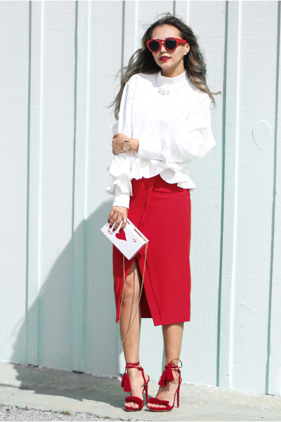 white WannaBK top - ruby red Eva Mendes skirt - red Nasty Gal sandals