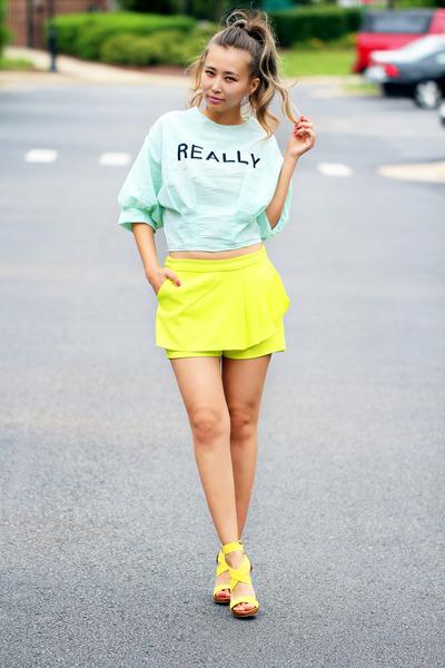 aquamarine printed blackfive shirt - yellow chiffon blackfive shorts