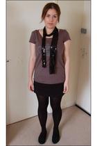black H&M shoes - black American Apparel skirt - gray La Redoute top