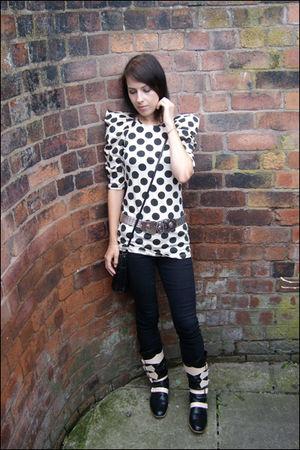 black vivienne westwood boots - black Topshop jeans - beige Primarl top - silver